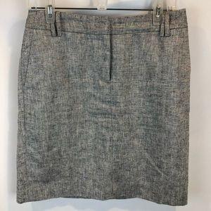 Loft Heathered Gray Linen Blend Pencil Skirt